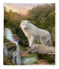 White Wolf Falls2 Fleece Blanket