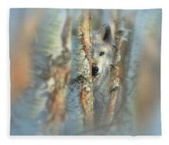White Wolf Focused Fleece Blanket