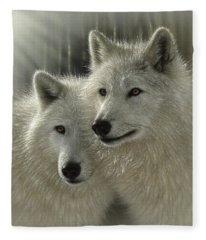 White Wolves - Sunlit Soulmates Fleece Blanket