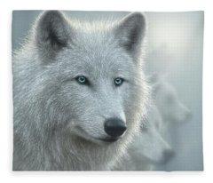 White Wolves - Whiteout Fleece Blanket