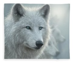 White Wolves - Whiteout Fleece Blanket