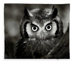 Whitefaced Owl Fleece Blanket