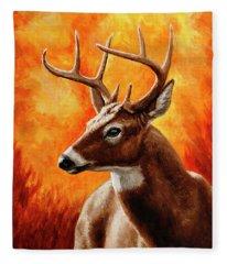 Whitetail Buck Portrait Fleece Blanket