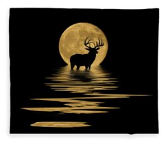 Whitetail Deer In The Moonlight Fleece Blanket