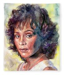 Whitney Houston Portrait Fleece Blanket