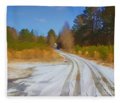 Snow Covered Lane Fleece Blanket