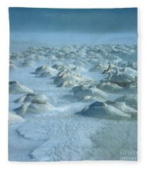 Whooper Swans In Snow Fleece Blanket