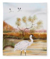 Whooping Cranes-jp3152 Fleece Blanket