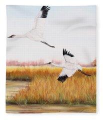 Whooping Cranes-jp3153 Fleece Blanket