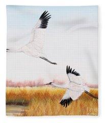 Whooping Cranes-jp3155 Fleece Blanket