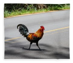 Why Did The Rooster Cross The Road Fleece Blanket
