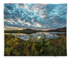 Wichitas Wonder - Mackerel Sky And Fall Sunset In Southwest Oklahoma Fleece Blanket
