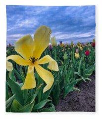Wide Open Tulip Fleece Blanket