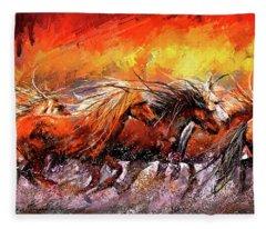 Wild And Free - Horses Running In The Wild Art Fleece Blanket