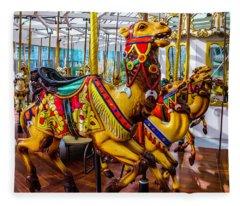 Wild Camel Carrousel Ride Fleece Blanket