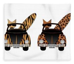 Wild Cats Go Surfing Fleece Blanket