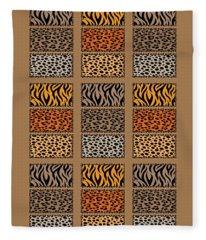 Wild Cats Patchwork Fleece Blanket
