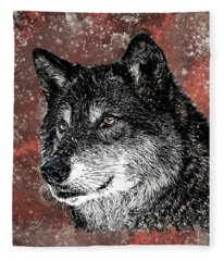 Wild Dark Wolf Fleece Blanket