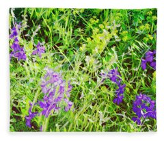 Wild Delphinium Bliss Fleece Blanket