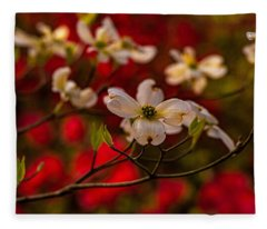 Wild Dogwood And Red Azaleas Fleece Blanket