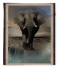 Wild Elephant Montage Fleece Blanket