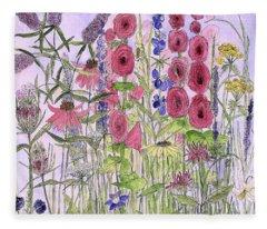 Wild Garden Flowers Fleece Blanket