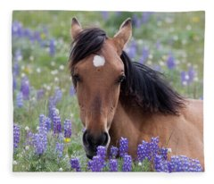 Wild Horse Among Lupines Fleece Blanket