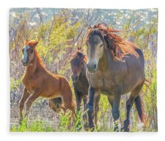 Wild Horses On The Move Fleece Blanket