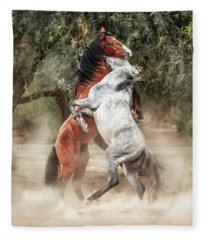 Wild Horses Rearing Up Play Fighting Fleece Blanket