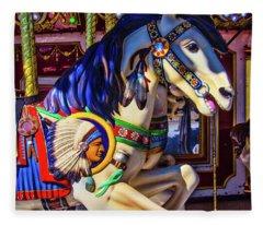 Wild Indian Horse Fleece Blanket