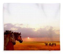 Wild Moorland Ponies Fleece Blanket