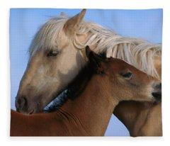 Wild Mustang Filly And Foal Fleece Blanket