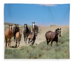 wild mustangs on the run to the water hole in Sand Wash Basin Fleece Blanket