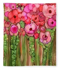 Wild Poppy Garden - Pink Fleece Blanket