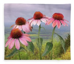 Wild Purple Coneflowers Fleece Blanket