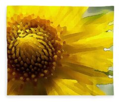 Wild Sunflower Up Close Fleece Blanket