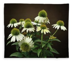 Wild White Coneflowers Fleece Blanket