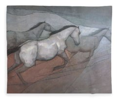 Wild White Horses Fleece Blanket