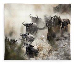 Wildebeest Herd Crossing The Mara River Fleece Blanket