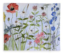 Wildflower And Blue Sky Fleece Blanket