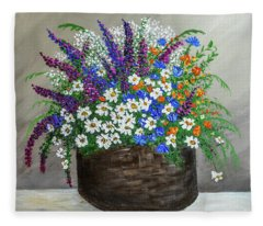 Wildflower Basket Acrylic Painting A61318 Fleece Blanket
