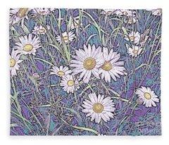 Wildflower Daisies In Field Of Purple And Teal Fleece Blanket