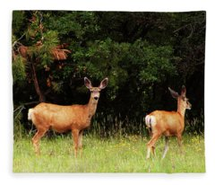 Wildflower Meadow With Doe And Fawn Fleece Blanket