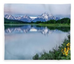 Wildflowers And Mt Moran Fleece Blanket