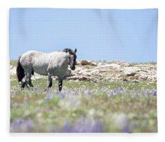 Wildflowers And Mustang Fleece Blanket