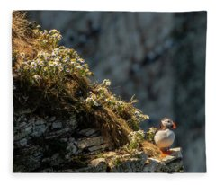 Wildflowers And Puffin  Fleece Blanket