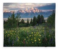 Wildflowers At Grand Teton National Park Fleece Blanket