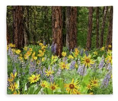 Balsamroot And Lupine In A Ponderosa Pine Forest Fleece Blanket
