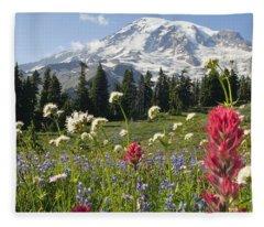 Wildflowers In Mount Rainier National Fleece Blanket
