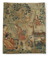 Wildmen And Animals In A Landscape Fragment, Anonymous, C. 1500 - C. 1520 Fleece Blanket
